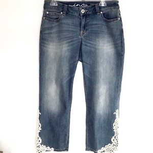 Women's inc. denim embellished crop jeans size 6